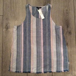 Anthropologie DREW Chambray Lilac Stripe Linen Top